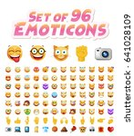set of 96 cute emoticons on... | Shutterstock .eps vector #641028109