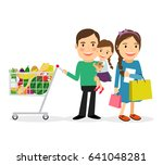 family shopping concept. happy... | Shutterstock . vector #641048281