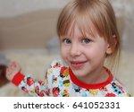 girl children jumping on bed in ... | Shutterstock . vector #641052331