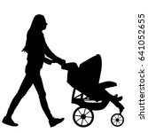 woman walk with baby and pram... | Shutterstock .eps vector #641052655