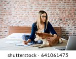 woman working at home | Shutterstock . vector #641061475