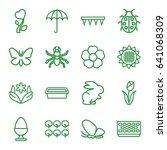 Spring Icons Set. Set Of 16...