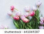 Pink Tulips On Gray Abstract...