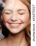 teenager model girl smile with... | Shutterstock . vector #641075317