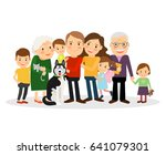cartoon family portrait. big... | Shutterstock . vector #641079301