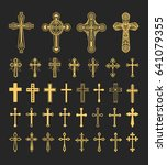 cross icons set. decorated... | Shutterstock . vector #641079355