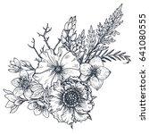 floral composition. bouquet... | Shutterstock .eps vector #641080555