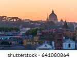 trastevere and rome buildings... | Shutterstock . vector #641080864