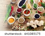 colorful spices and fresh herbs ... | Shutterstock . vector #641085175