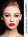 model with red lips. young... | Shutterstock . vector #641085904