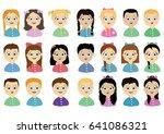set of cartoon children's faces.... | Shutterstock .eps vector #641086321