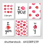 set of templates for romantic... | Shutterstock .eps vector #641089159