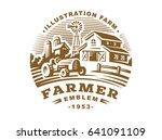 illustration farm logo in... | Shutterstock . vector #641091109