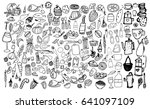 hand drawn food elements. set... | Shutterstock .eps vector #641097109