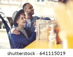 customers outside food truck on ... | Shutterstock . vector #641115019
