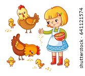 girl  hens and chickens... | Shutterstock .eps vector #641121574