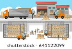 loading process in storehouse... | Shutterstock .eps vector #641122099