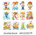 Vector Set On A Sea Theme. A...