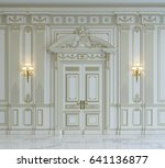 white wall panels in classical... | Shutterstock . vector #641136877