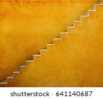 Stock photo yellow wall with stairs texture background minimalistic style for base image for posters banners 641140687