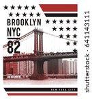 photo print brooklyn bridge... | Shutterstock . vector #641143111