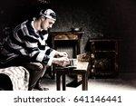 male prisoner wearing prison...   Shutterstock . vector #641146441