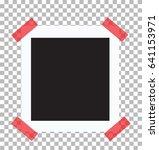retro photo frame on red sticky ...   Shutterstock .eps vector #641153971