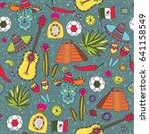 doodles seamless pattern of... | Shutterstock . vector #641158549