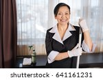 happy delighted chambermaid... | Shutterstock . vector #641161231