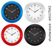 clock set isolated on white...   Shutterstock .eps vector #64117042