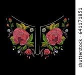 vector embroidery neckline...   Shutterstock .eps vector #641171851