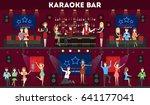 karaoke bar set. | Shutterstock . vector #641177041
