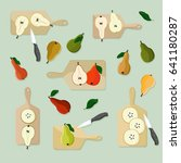 cutting pears   vector... | Shutterstock .eps vector #641180287