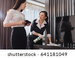 joyful nice businesswoman... | Shutterstock . vector #641181049