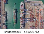 commercial port with container... | Shutterstock . vector #641203765