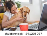 woman embracing dog sitting on...   Shutterstock . vector #641205037