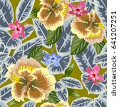 tropical seamless floral... | Shutterstock .eps vector #641207251