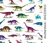 set  silhouettes  dino... | Shutterstock .eps vector #641210311
