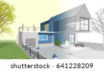3d illustration  house sketch | Shutterstock . vector #641228209