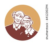 happy old family  vector... | Shutterstock .eps vector #641230294