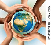 Conceptual symbol of multiracial human hands surrounding the Earth globe. Unity, world peace, humanity concept. - stock photo