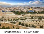 view of jerusalem old city and... | Shutterstock . vector #641245384