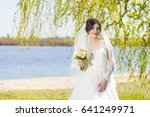 wedding. young beautiful bride... | Shutterstock . vector #641249971