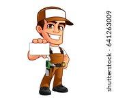 friendly carpenter  he is... | Shutterstock .eps vector #641263009