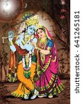 hindu god and goddess radha... | Shutterstock . vector #641265181