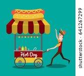 illustration of urban hotdog... | Shutterstock .eps vector #641267299