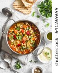 minestrone soup in a pan on a... | Shutterstock . vector #641269699