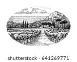 countryside scenery. vineyard... | Shutterstock .eps vector #641269771