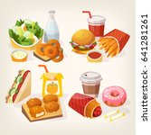 tasty colorful fast food and... | Shutterstock .eps vector #641281261