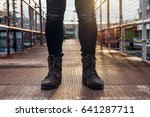men fashion in leather boots ... | Shutterstock . vector #641287711